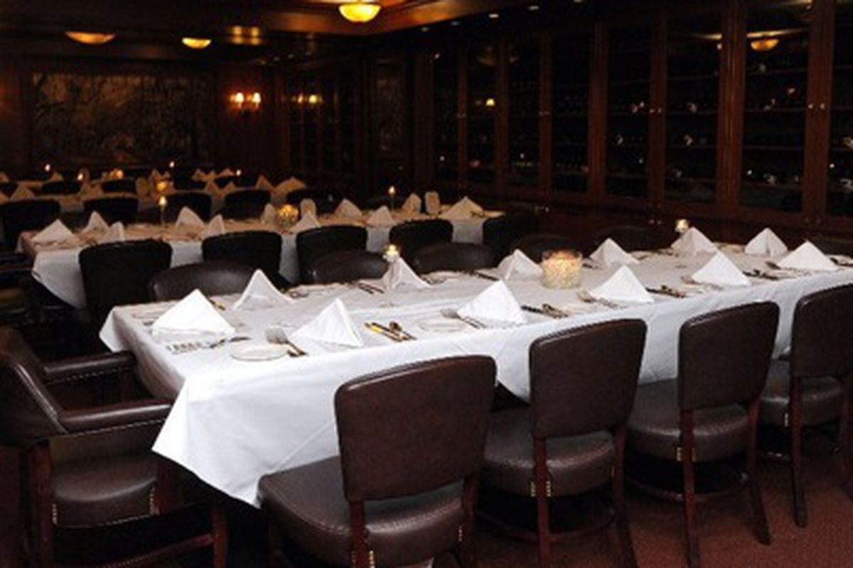 Dining room at Dickie Brennan's Steakhouse set up for a 2011 Tales of the Cocktail Spirited Dinner.