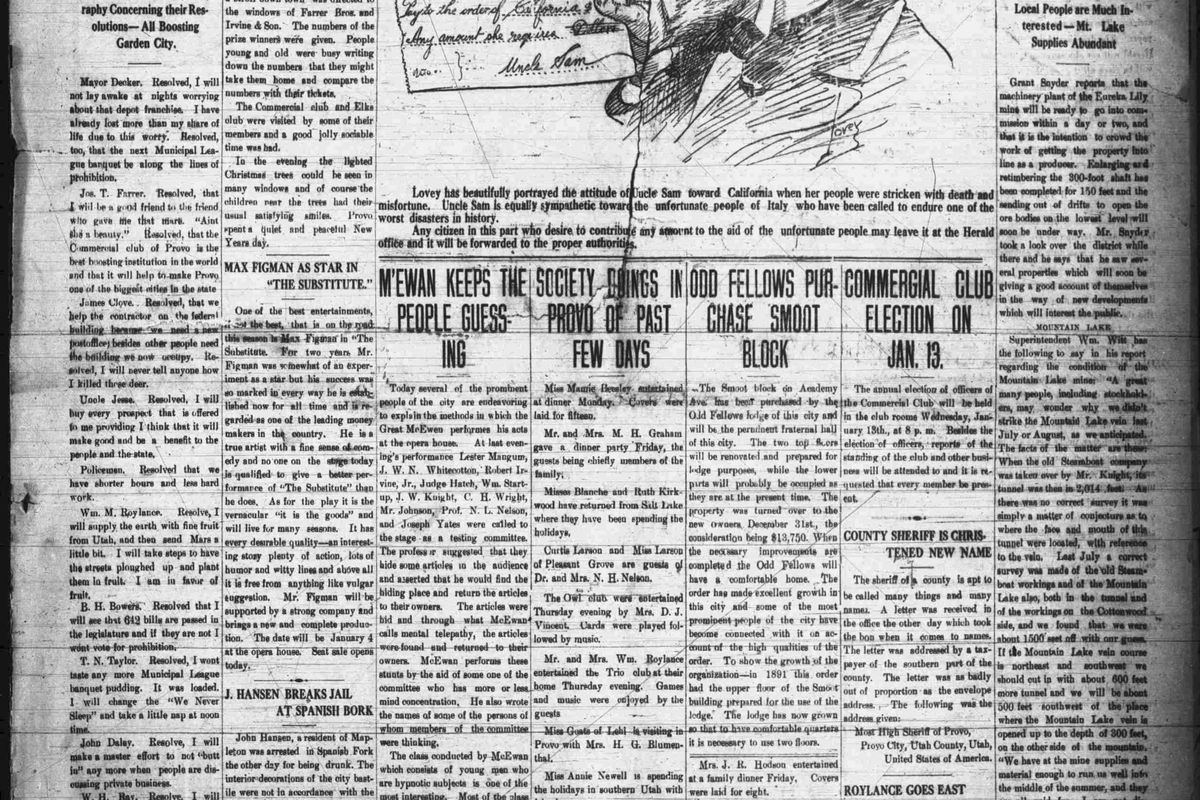 The University of Utah's J. Willard Marriott Library has digitized 100 years of editions of The Provo Herald — known today as the Daily Herald. The archive is available online and free to the public.