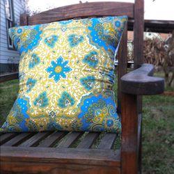 "Vintage Vera silk scarf pillow, <a href=""http://www.etsy.com/listing/91111121/paisley-vera-scarf-pillow?ref=&sref="">$75</a>."
