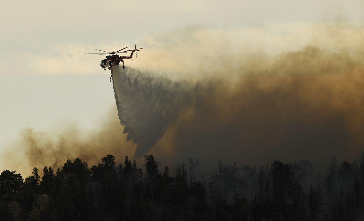 Wildfire burning in the Evergreen