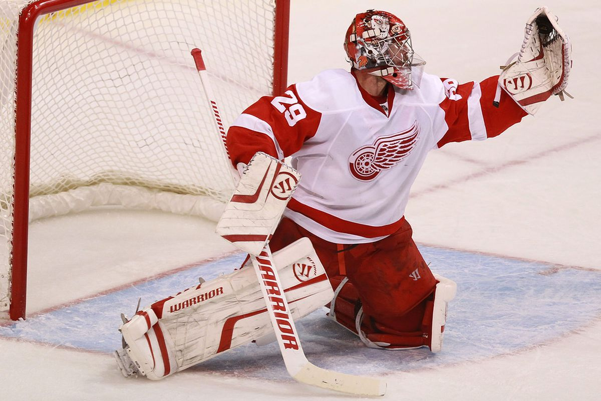 DALLAS, TX - JANUARY 17:   Ty Conklin #29 of the Detroit Red Wings makes a save against the Dallas Stars at American Airlines Center on January 17, 2012 in Dallas, Texas.  (Photo by Ronald Martinez/Getty Images)