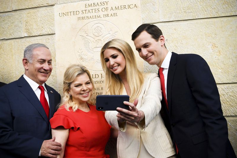 Ivanka Trump and Jared Kushner take a picture with Israel's Prime Minister Benjamin Netanyahu and his wife Sara Netanyahu.