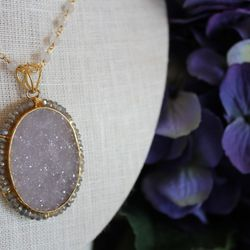 Bead-wrapped druzy quartz necklace, $248