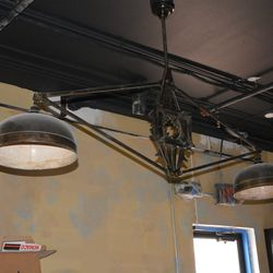 Lighting fixture in the private dining area.