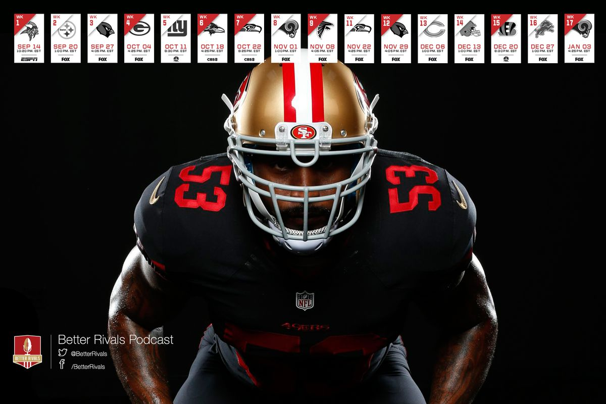 49ers 2015 schedule wallpapers niners nation what better way to keep track of the 49ers upcoming games than with beautifully designed better rivals podcast wallpapers voltagebd Choice Image