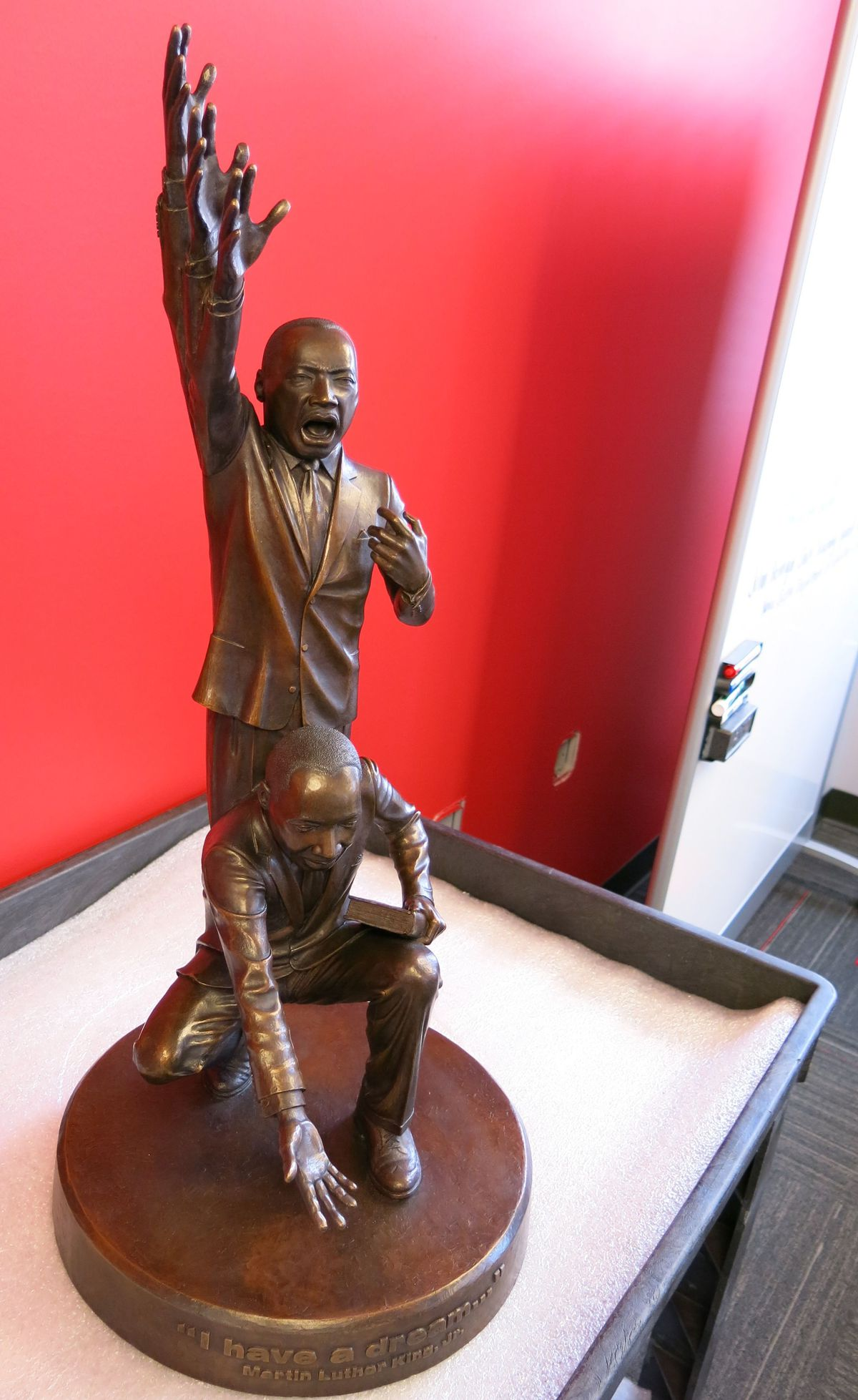 """""""I have a dream,"""" by Chris Sharp, is a cast bronze statue in the National Civil Rights Museum collection."""