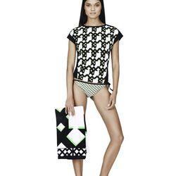 Tee in Green Netting Print, $19.99; Bikini Bottom in Green Netting Print Print, $14.99; Beach Towel in Green Netting Print, $24.99; Slip-On Shoe in Black/White Print, $29.99