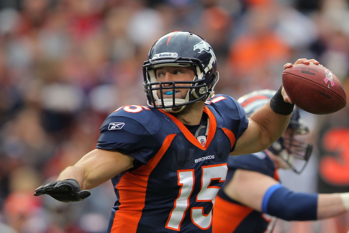 DENVER, CO - OCTOBER 09:  Tim Tebow #15 of the Denver Broncos drops back to pass against the San Diego Chargers at Sports Authority Field at Mile High on October 9, 2011 in Denver, Colorado.  (Photo by Doug Pensinger/Getty Images)