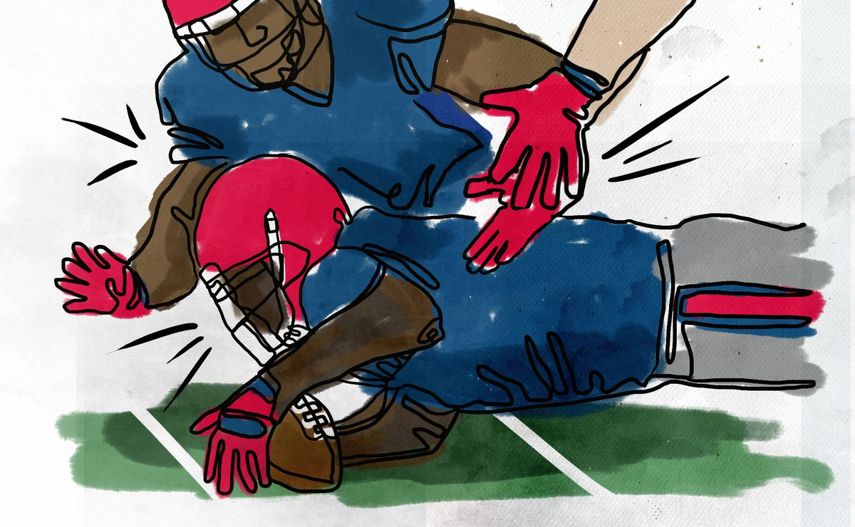 A cartoon illustration of one football player diving on a football and another player on top of him