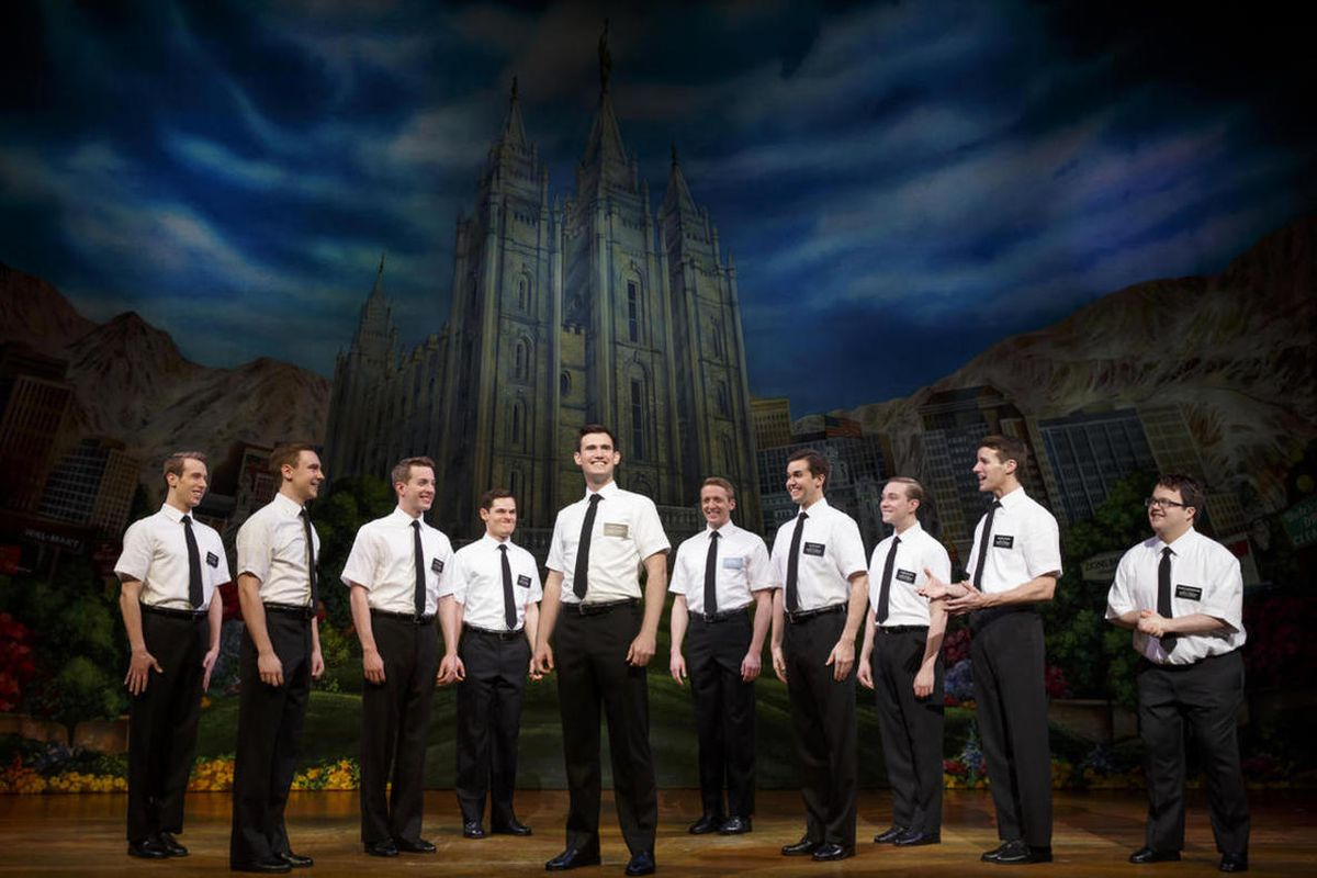 """A group of missionaries in """"The Book of Mormon Musical."""""""