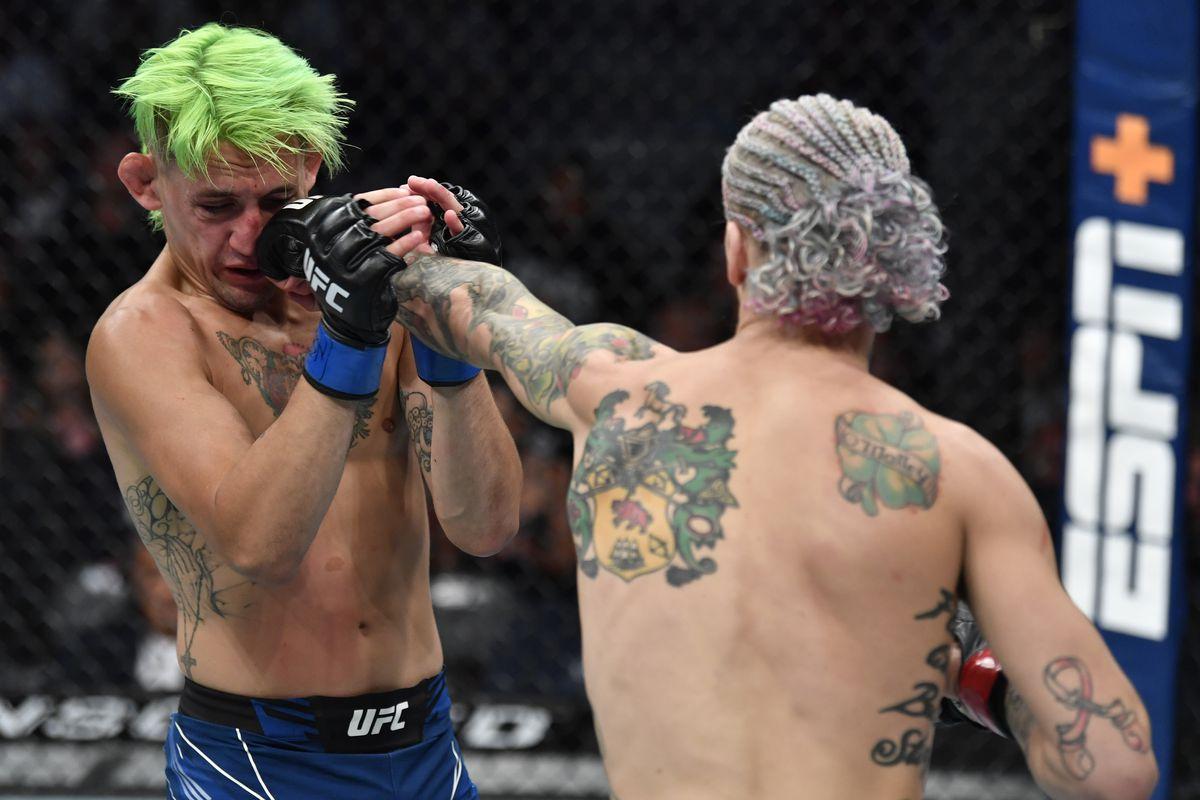 Sean O'Malley and Kris Moutinho at UFC 264