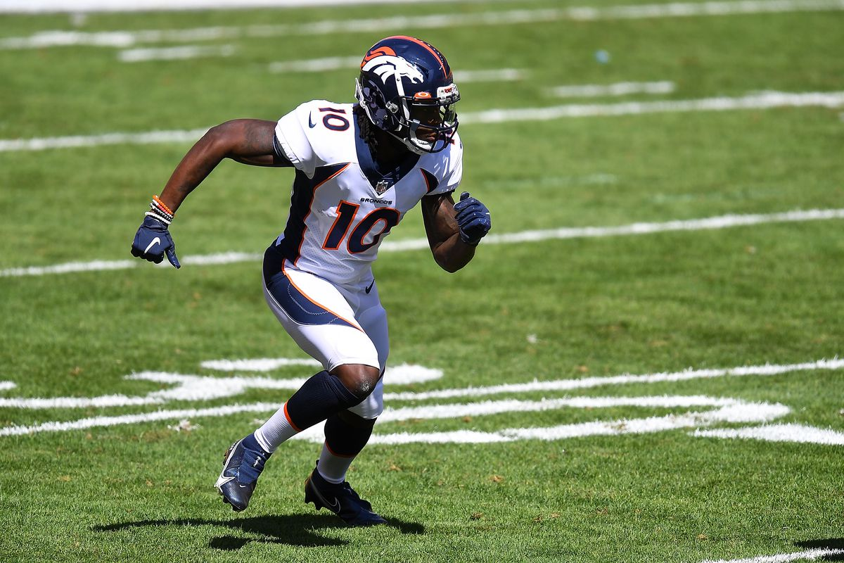 Jerry Jeudy of the Denver Broncos in action during the game against the Pittsburgh Steelers at Heinz Field on September 20, 2020 in Pittsburgh, Pennsylvania.