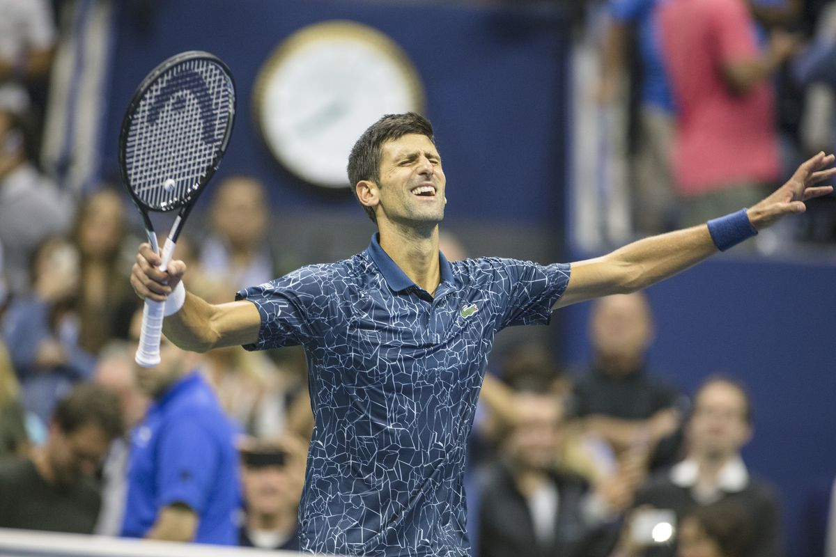Novak Djokovic of Serbia celebrates his victory against Juan Martin Del Potro of Argentina in the Men's Singles Final on Arthur Ashe Stadium at the 2018 US Open Tennis Tournament at the USTA Billie Jean King National Tennis Center on September 9th, 2018 in Flushing, Queens, New York City.