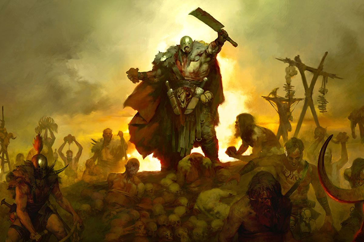 A Diablo 4 character stands on top of a pile of bodies while fighting rages around him