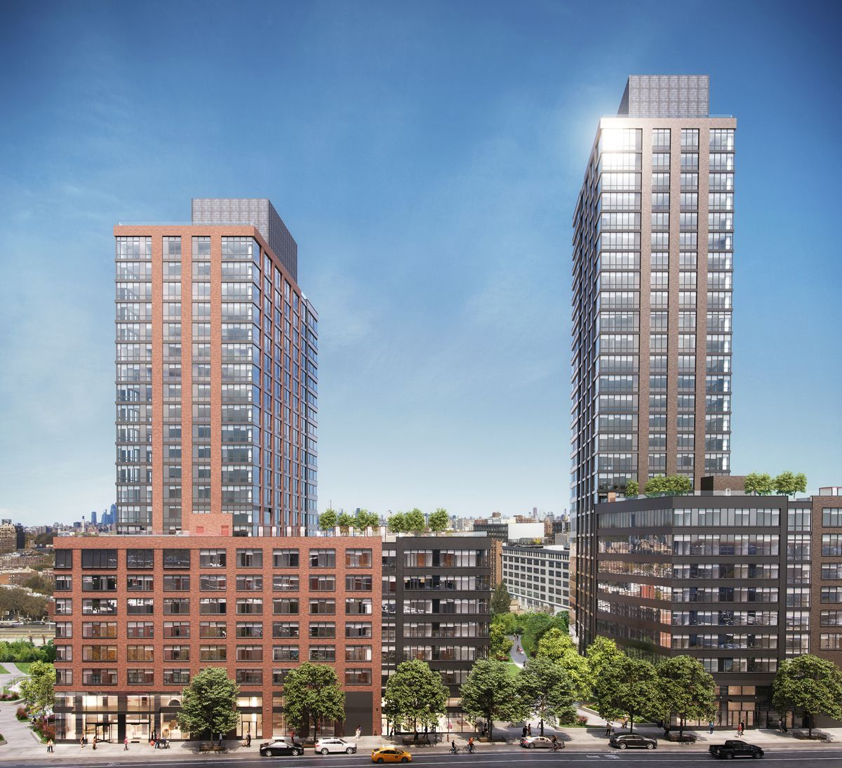 A rendering of two buildings. The one on the left is reddish brick with a tower rising from a blocky base, and the other is brown with a tower rising from a blocky base.