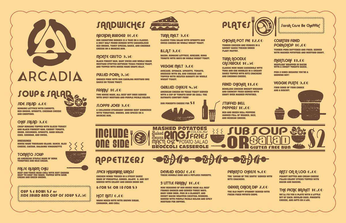 Arcadia menu
