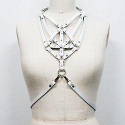 "<b>Zana Bayne</b> Necklace Harness in white, <a href=""http://shop.zanabayne.com/product/necklace-harness-white"">$185</a>"