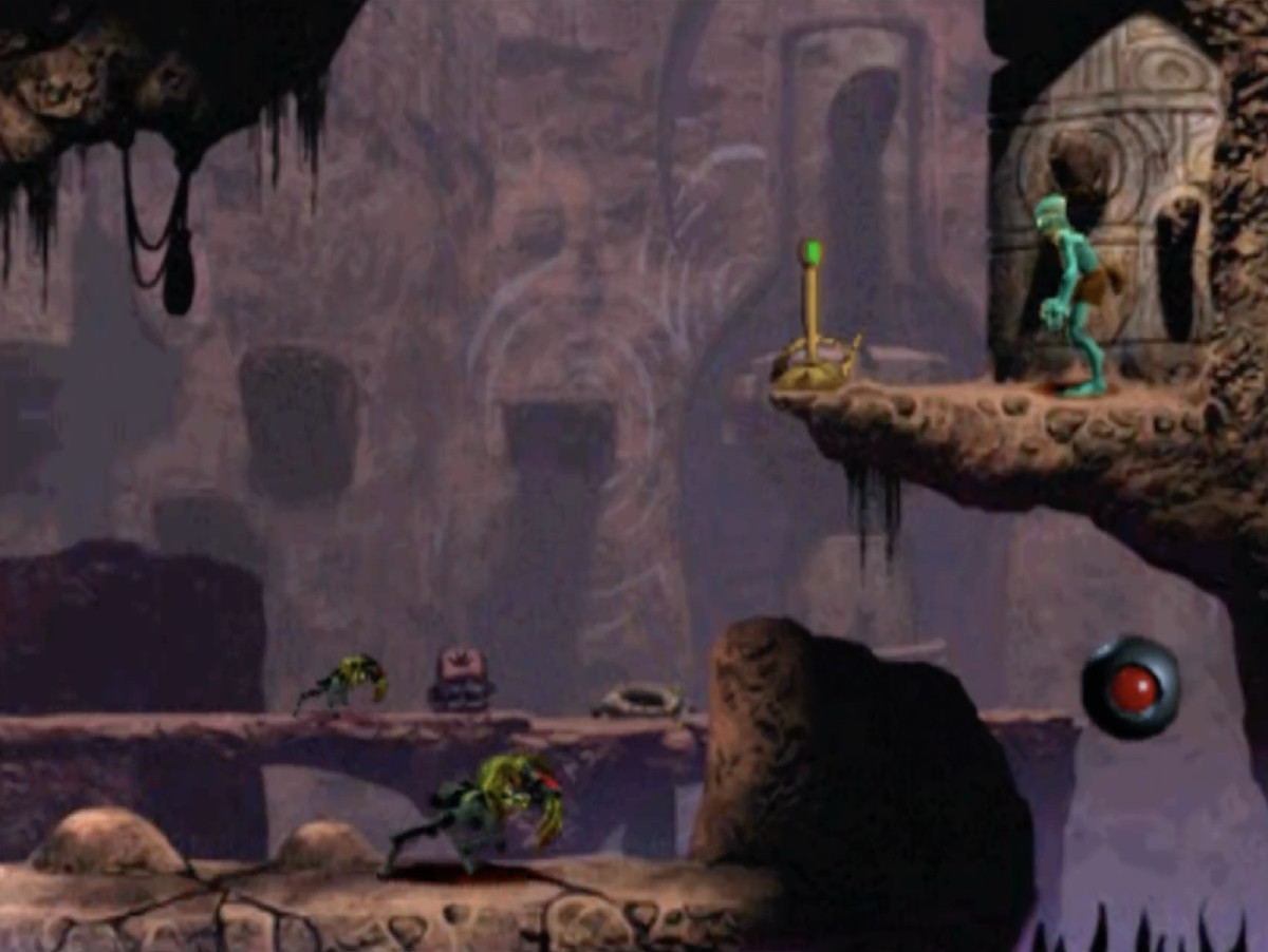 Oddworld: Abe's Oddysee - Abe standing on a ridge above the bottom