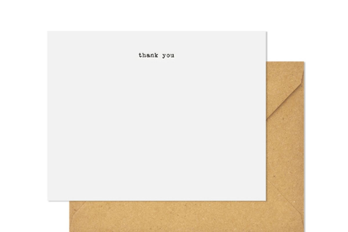 """Typewriter Thank You notes, <a href=""""https://sugarpaper.com/shop/product/thx24/"""">$20</a> at Sugar Paper"""