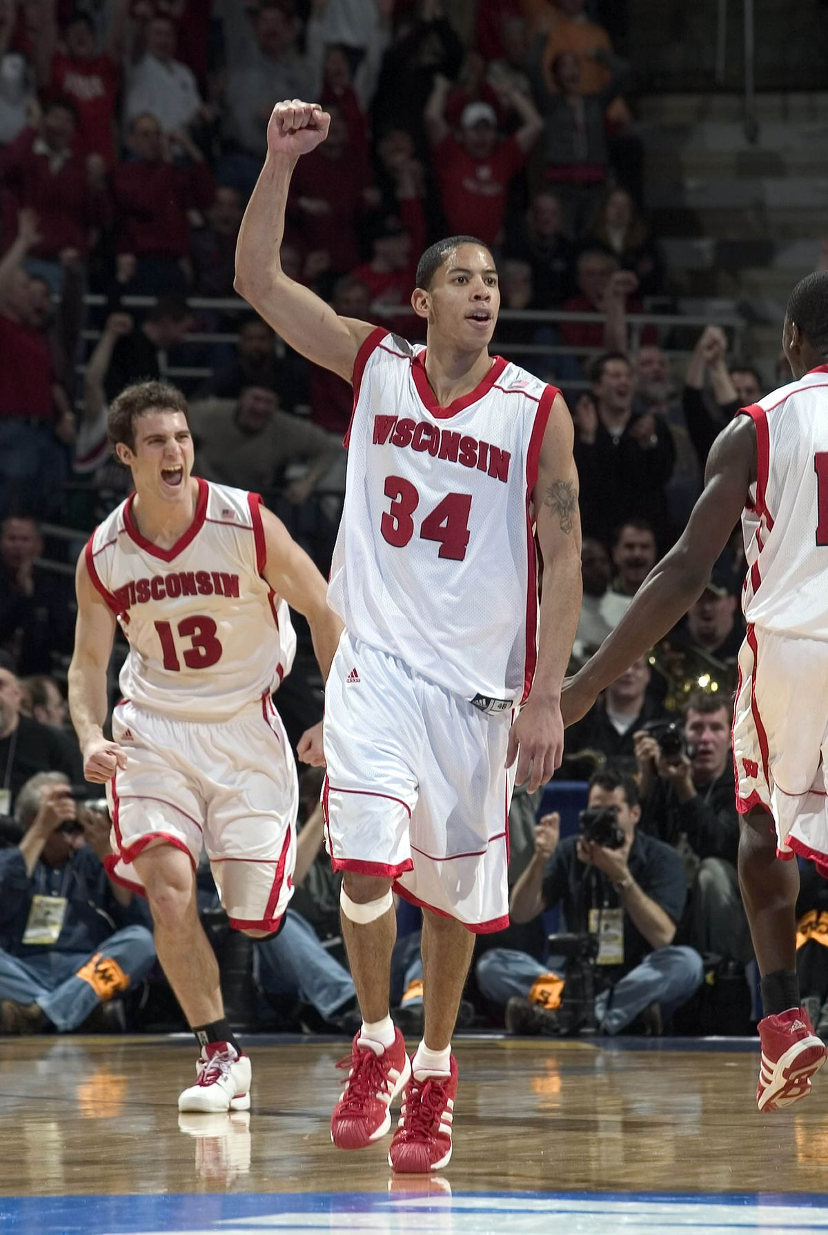 19 March 2004: Devin Harris of the Wisconsin Badgers during the Badgers 76-64 victory over the Richmond Spiders in the first round of the NCAA Tournament at the Bradley Center in Milwaukee, WI.