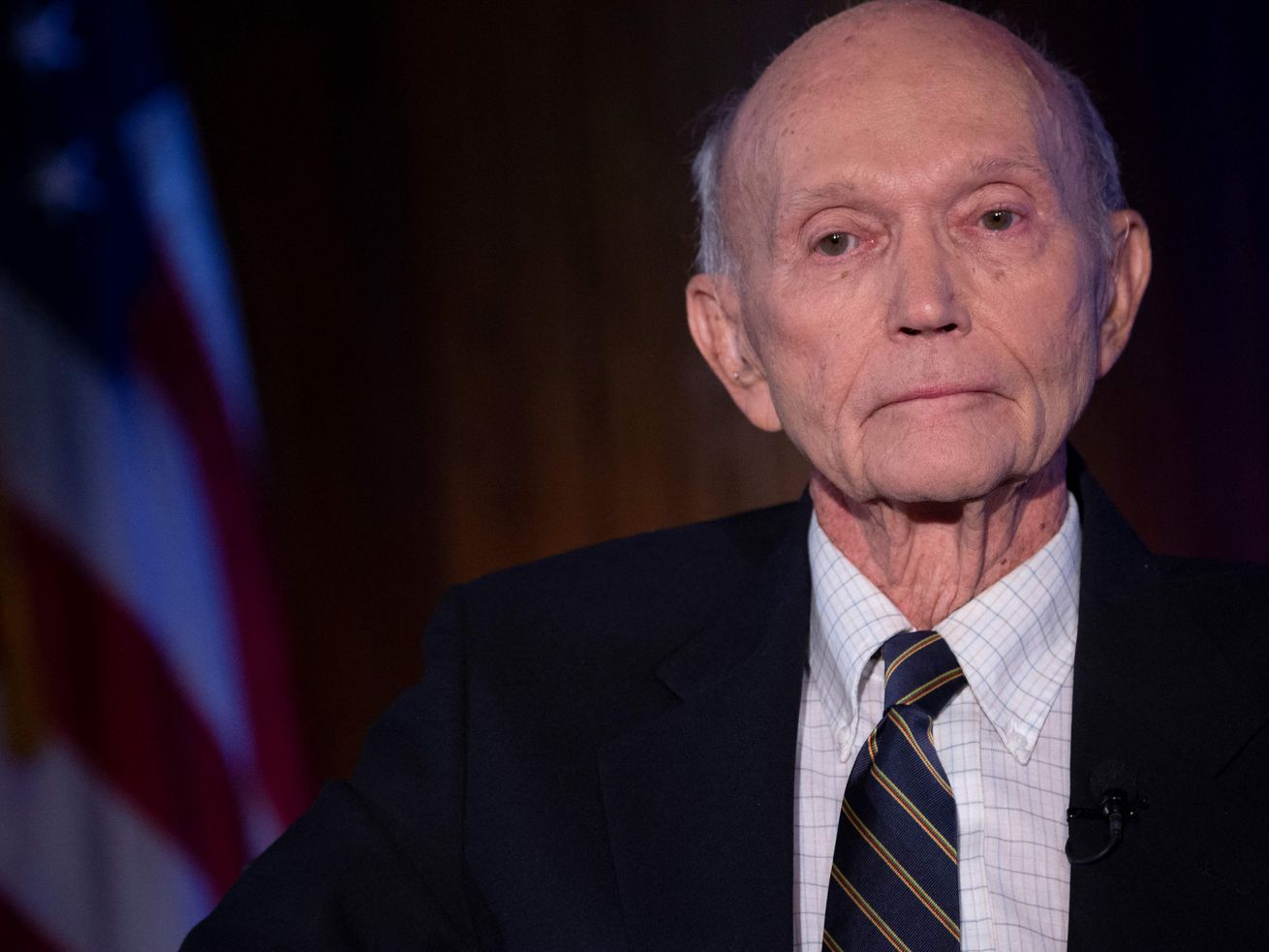 In this file photo US Apollo 11 astronaut Michael Collins is seen at the National Press Club in Washington, DC, to discuss the impact of his historic mission to the moon on April 15, 2019. Collins, who flew the Apollo 11 command module while his crewmates became the first people to land on the Moon in 1969, died on April 28, 2021 after battling cancer, his family said.