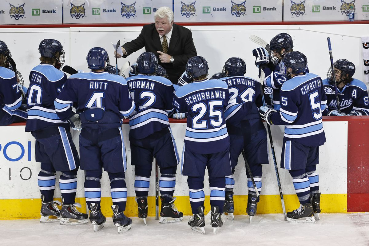 Maine coach Red Gendron addresses his players at a game against Quinnipiac during the 2013-14 season.