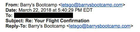 """A subject line that reads, """"Re: Your Flight Confirmation."""""""