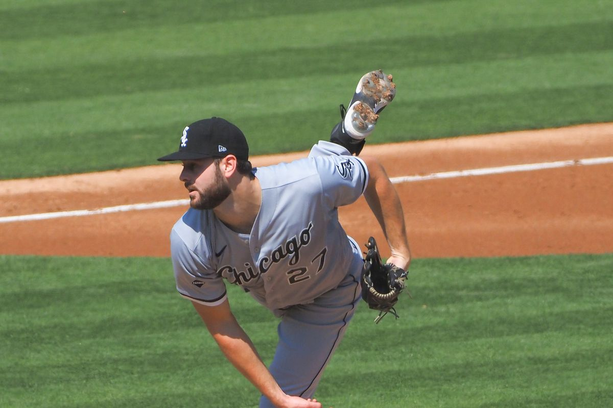 Chicago White Sox starting pitcher Lucas Giolito  pitches the ball against the Oakland Athletics during the third inning at Oakland Coliseum.