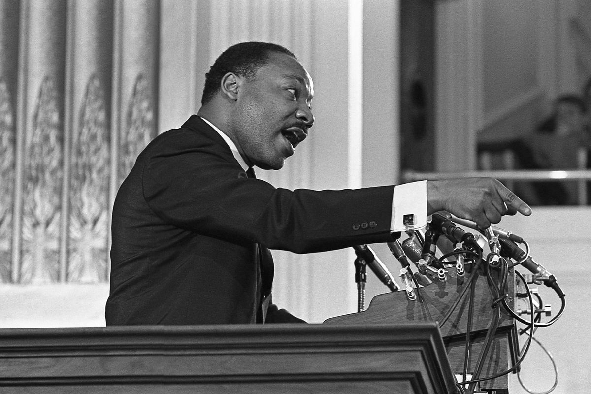 Martin Luther King Jr. preaching.