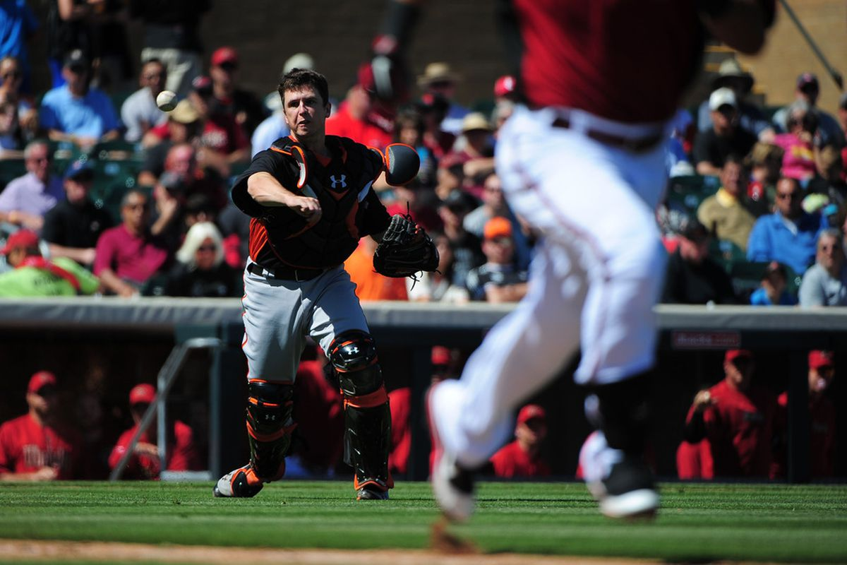 Buster Posey playing baseball.  Kyle Terada-US PRESSWIRE