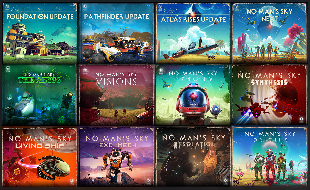 All of the art from No Man's Sky's many post-release updates