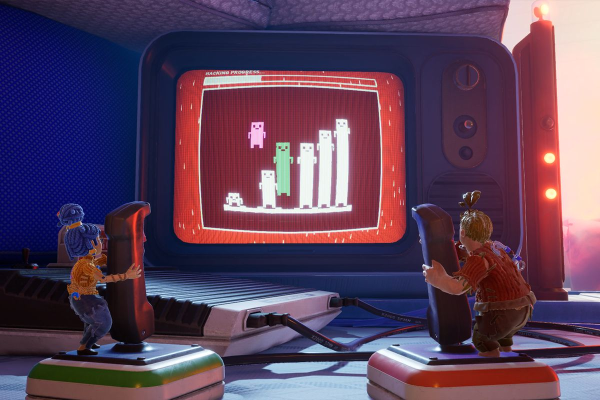 May and Cody play a retro game in It Takes Two