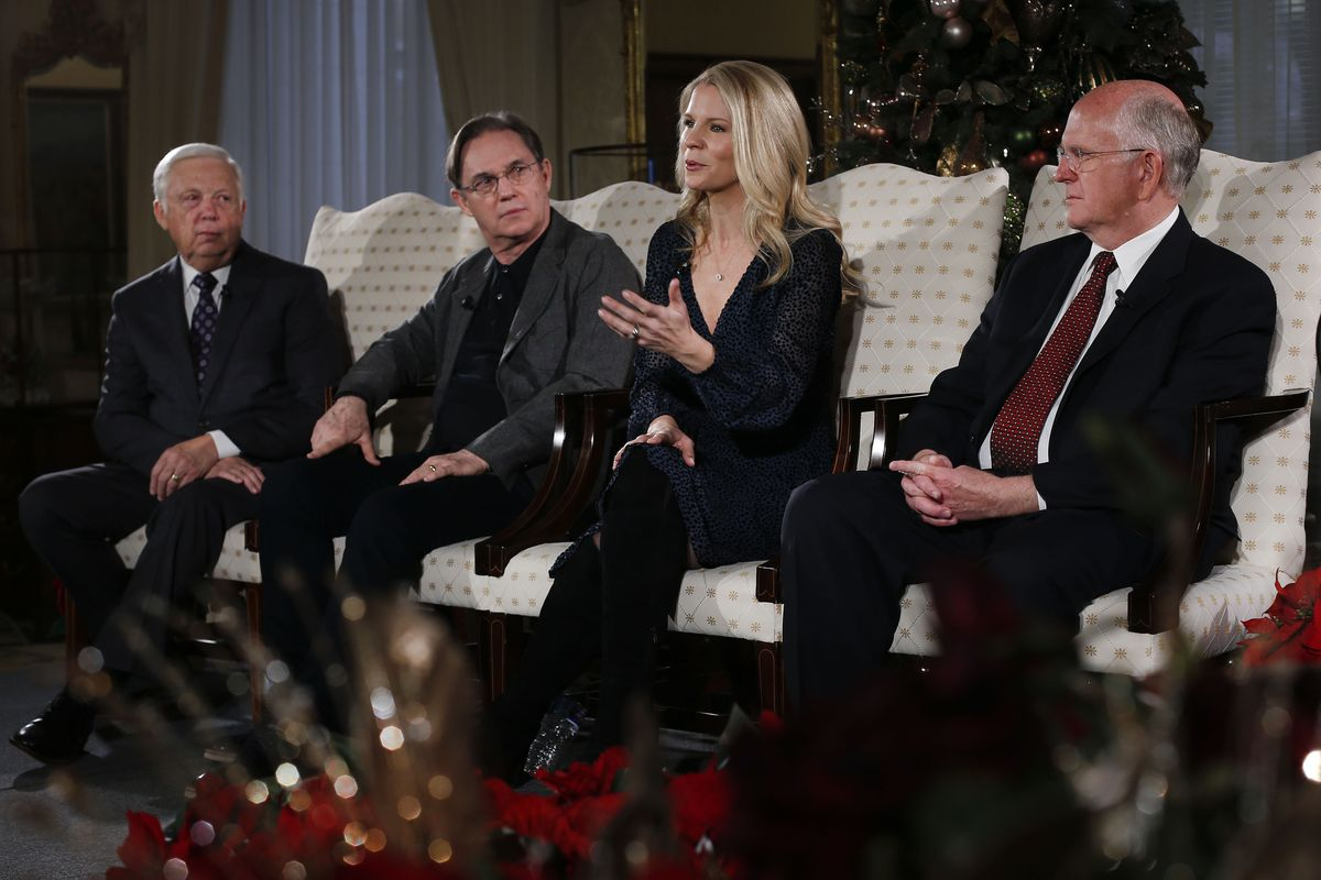 Ron Jarrett, left, president of the Mormon Tabernacle Choir, Kelli O'Hara, acclaimed singer and actress, actor Richard Thomas, and Mack Wilberg, music director of TheTabernacle Choir, talk about the 2019 Christmas with The Tabernacle Choir concert in Salt Lake City on Thursday, Dec. 12, 2019. The Tabernacle Choir, Orchestra at Temple Square, and Bells on Temple Square will perform their annual Christmas concerts in the Conference Center on Temple Square in Salt Lake City, Utah on Thursday, Friday, and Saturday, December 12–14, 2019 at 8:00 p.m.