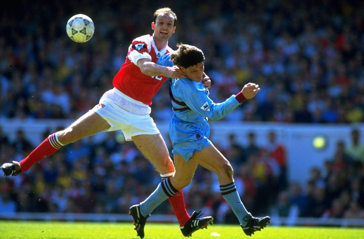 Steve Bould of Arsenal and Trevor Morley of West Ham United