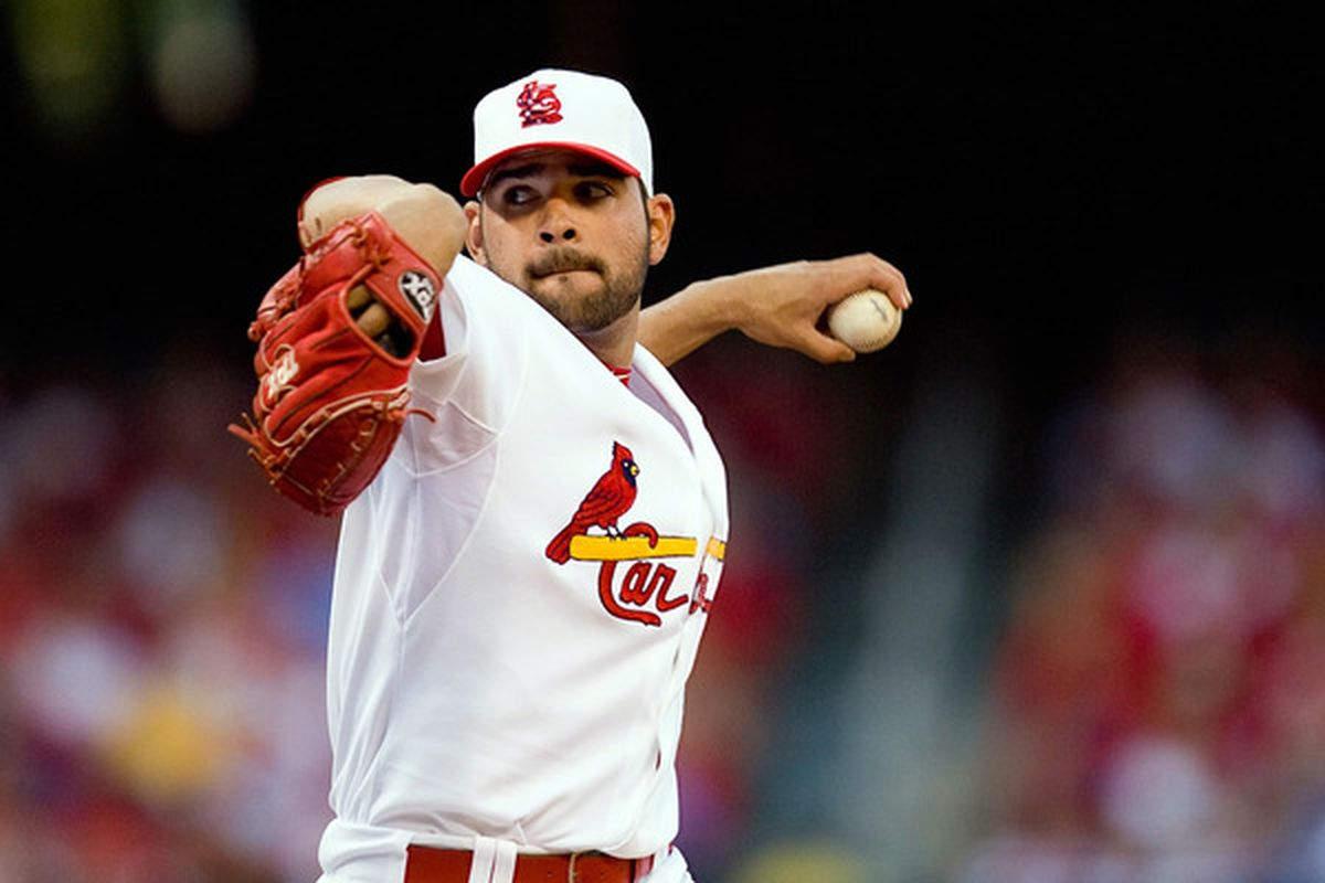 ST. LOUIS - JULY 2: Starting pitcher Jaime Garcia #54 of the St. Louis Cardinals throws against the Milwaukee Brewers at Busch Stadium on July 2 2010 in St. Louis Missouri.  (Photo by Dilip Vishwanat/Getty Images)