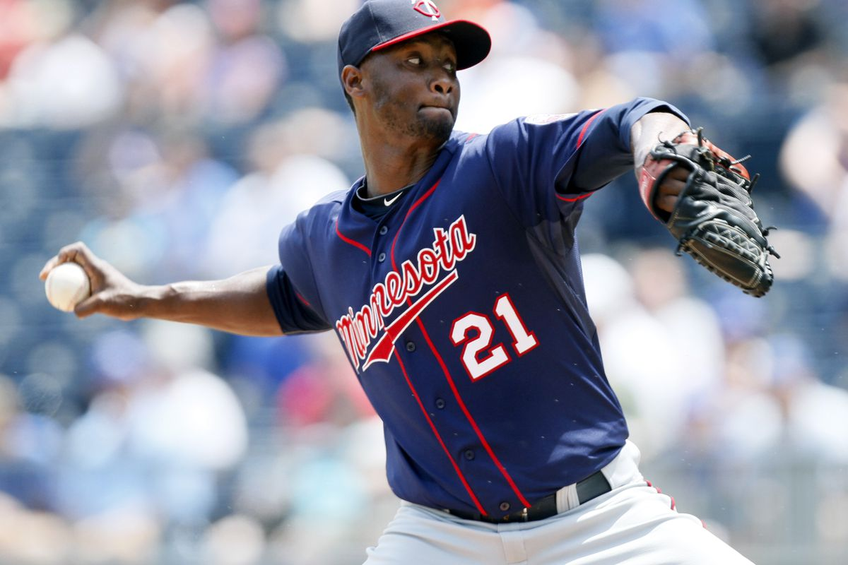 KANSAS CITY, MO - JULY 22: Samuel Deduno #21 of the Minnesota Twins pitches during a game against the Kansas City Royals in the first inning at Kauffman Stadium on July 22, 2012 in Kansas City, Missouri. (Photo by Ed Zurga/Getty Images)