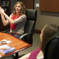 """Olympic silver medalist Noelle Pikus-Pace jokes around as she tells a story during a small group discussion about her new book, """"Focused: Keeping Your Life on Track, One Choice at a Time,"""" at Deseret Book corporate headquarters, Tuesday, Sept. 9, 2014."""
