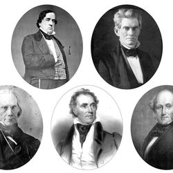 """These are the 1844 presidential candidates. From left to right, top to bottom: Lewis Cass (circa 1855–1860), John C. Calhoun (1843), Henry Clay (circa 1850), Richard M. Johnson (circa 1845), Martin Van Buren (circa 1837). In November 1843, these five men were the leading candidates in the upcoming 1844 presidential election. On Nov. 4, 1843, Joseph Smith approved a letter written to each candidate asking what his """"rule of action"""" would be toward the Latter-day Saints if he were elected. Clay, Cass, and Calhoun responded, Johnson and Van Buren did not. Church leaders nominated Joseph Smith as a candidate for the presidency the following January. (Image credit: Cass, Clay, Johnson, and Van Buren images courtesy Library of Congress. Calhoun image courtesy National Portrait Gallery, Smithsonian Institution. Cass and Clay photographs from Matthew B. Brady's studio. Calhoun photograph by unknown photographer. Johnson lithograph by Albert Newsam. Van Buren lithograph by Philip Haas.)"""