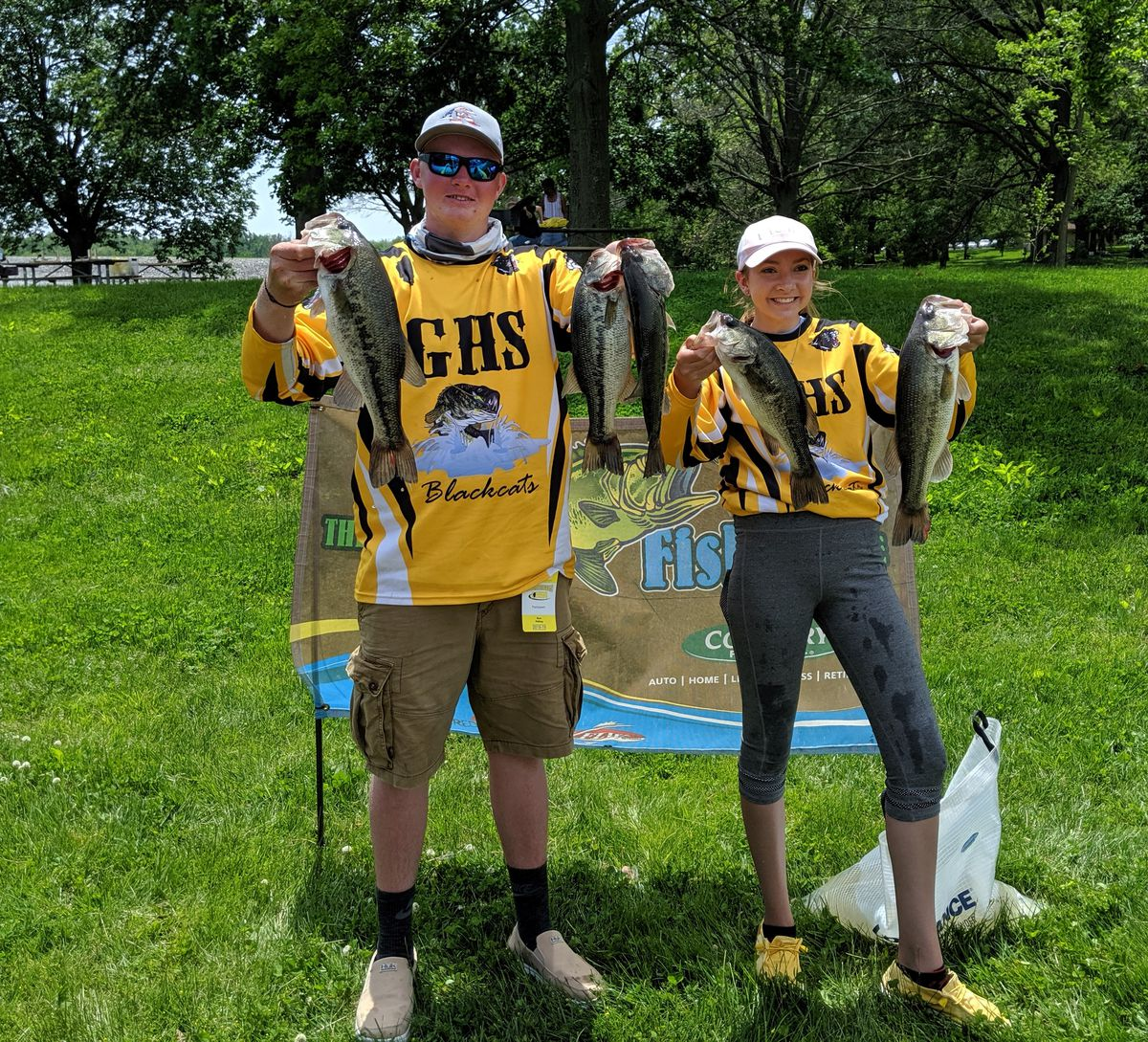Goreville's Landon Albright and his sister Kaeden took second at the IHSA state finals for bass fishing in 2019. Kaeden, now a senior, and her sister Reice, who won the Lake of Egypt sectional, will be the other all-girl team at the state finals this year. Credit: Dale Bowman