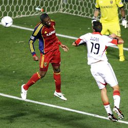 Kwame Watson-Siriboe of Real Salt Lake fights to control the ball against Emiliano Dudar of DC United during their MLS matchup at Rio Tinto Stadium in Sandy Saturday, September 1, 2012