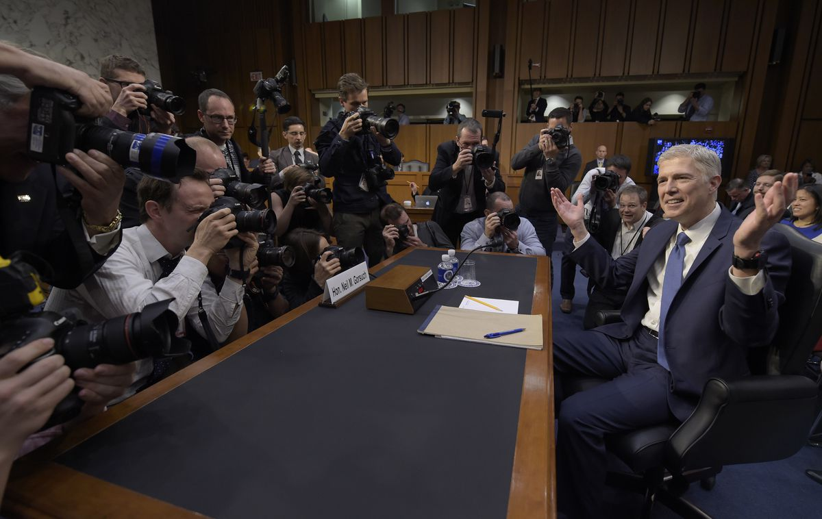 Supreme Court Justice nominee Neil Gorsuch arrives for his confirmation hearing before the Senate Judiciary Committee. | Susan Walsh/Associated Press