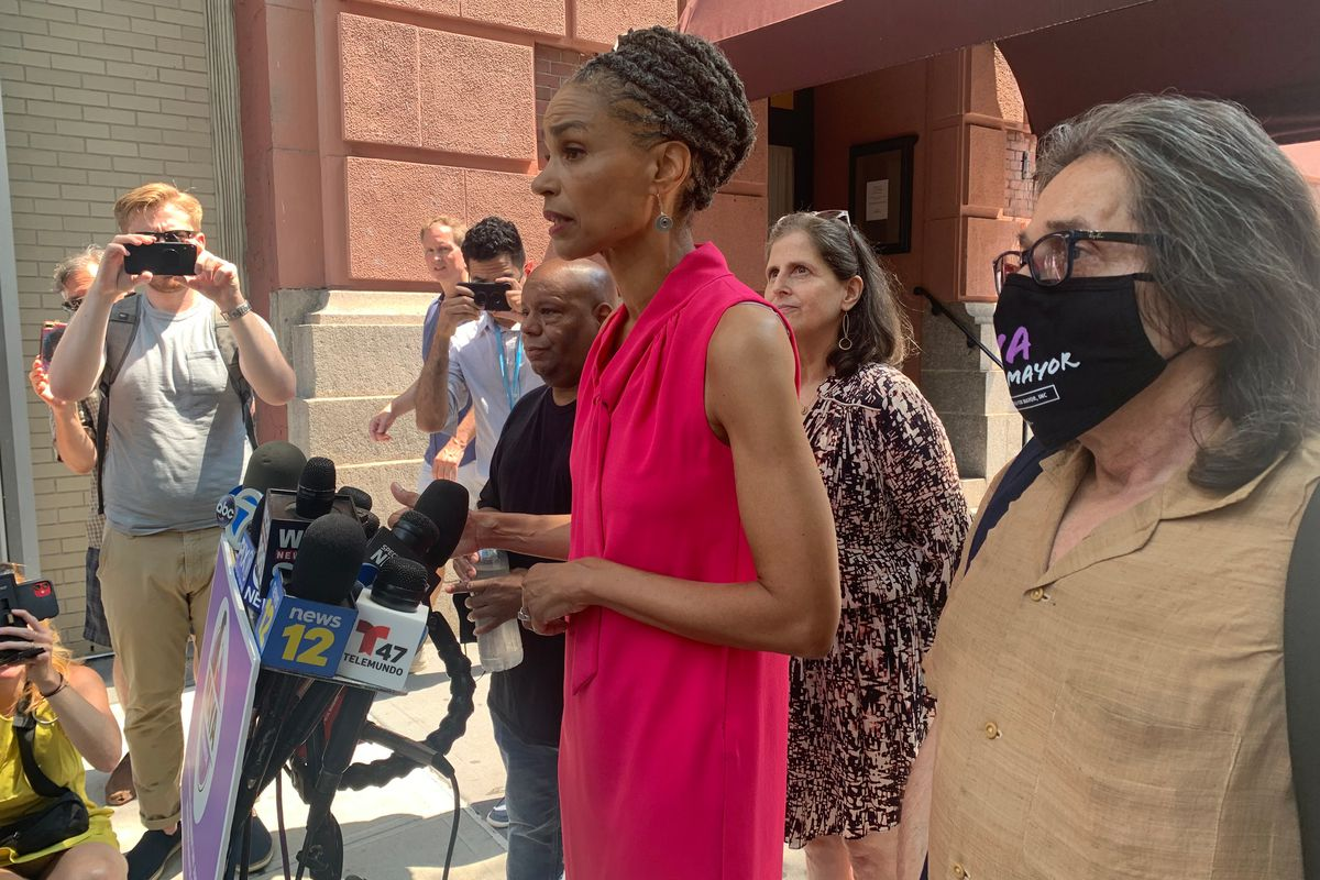 Mayoral candidate Maya Wiley concedes to Eric Adams during a press conference outside the Lucerne Hotel on the Upper West Side, July 7, 2021.