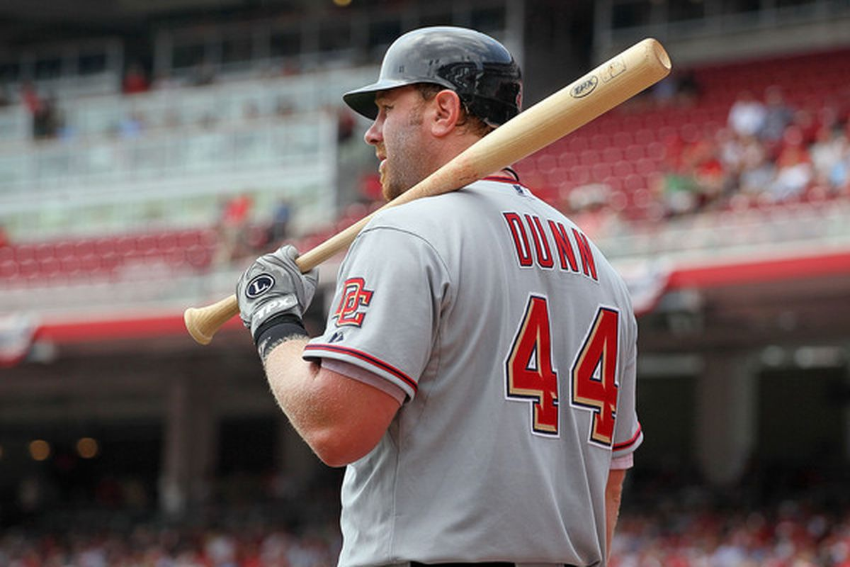 CINCINNATI - JULY 22:  Adam Dunn #44 of the Washington Nationals is pictured during the game against the Cincinnati Reds at Great American Ball Park on July 22 2010 in Cincinnati Ohio.  (Photo by Andy Lyons/Getty Images)