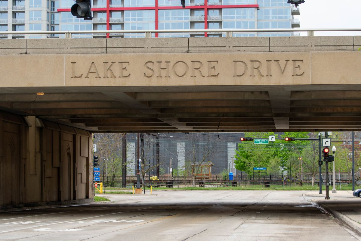 Lake Shore Drive, seen from the northbound on-ramp entrance at East 18th Drive.