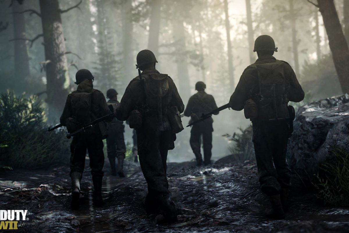 Soldiers walking in a forest