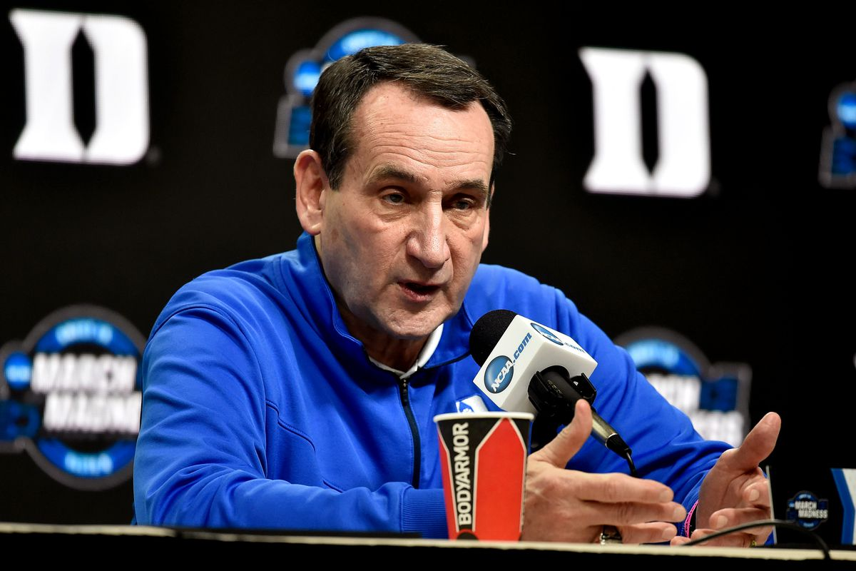 Head coach Mike Krzyzewski of the Duke Blue Devils addresses the media ahead of the 2019 NCAA Men's Basketball Tournament East Regional at Capital One Arena on March 28, 2019 in Washington, DC.