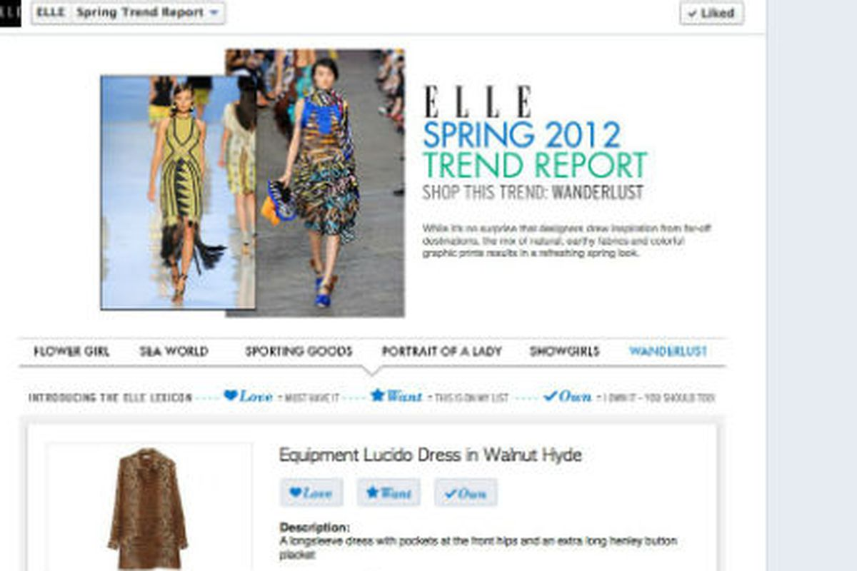 """""""Love,"""" """"Want,"""" and """"Own"""" buttons on Elle's Facebook Page, via WWD"""