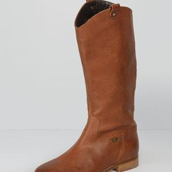 """Leather riding boots, brown, were $198, now <a href=""""http://us.levi.com/product/index.jsp?productId=13180778&Camp=CME%3AWomensShoesFS%3A20130221&csm=409004731&csc=586163&csa=409005411&csu=586170&"""">$140</a>"""