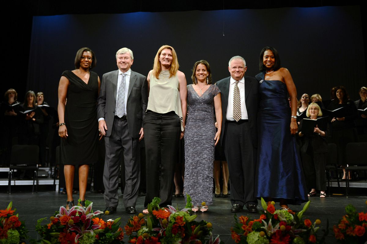 The six 2013 Women's Basketball Hall of Fame inductees.