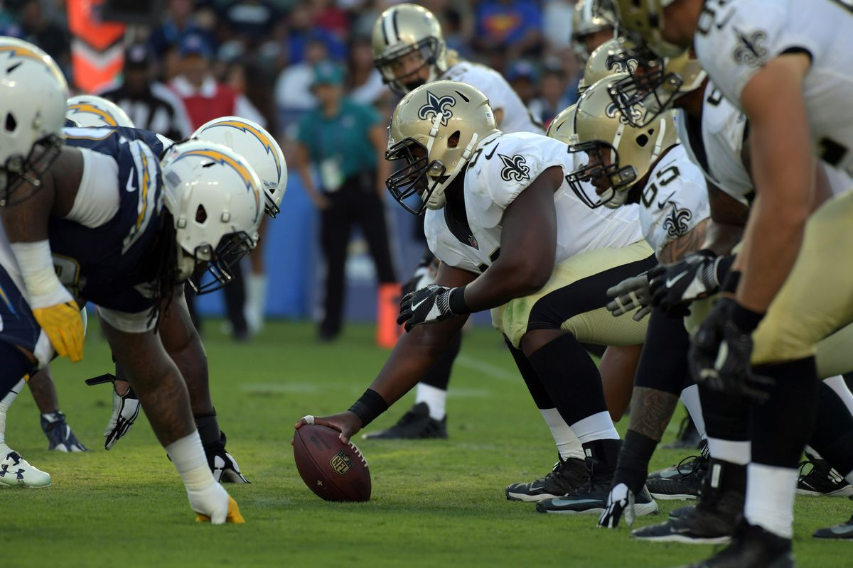 Carson, CA, USA; General overall view of the line of scrimmage as New  Orleans Saints center Cameron Tom (63) prepares to snap the ball against  the Los Angeles Chargers during a NFL football game at StubHub Center.